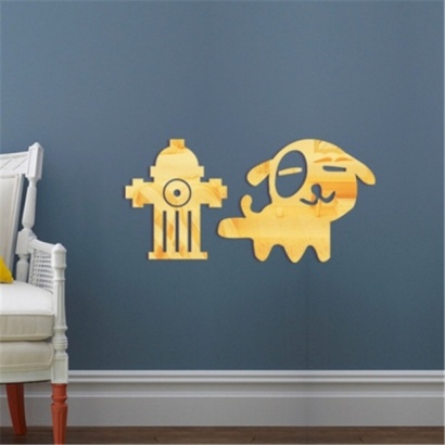 Mirror-Wall-Sticker-Dog-Animal-Wall-Stickers-For-Kids-Room-Acrylic-Mirrored-Decorative-Sticker-Mirro